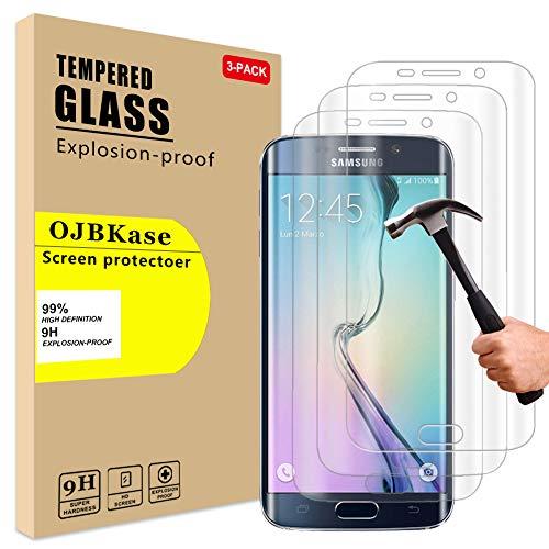 OJBKase [3 Unidades Protector de Pantalla Pare Samsung Galaxy S6 Edge Plus, Cristal Templado Vidrio Templado Protector de Pantalla con [2.5d Borde Redondo] [9H Dureza] [Alta Definicion]