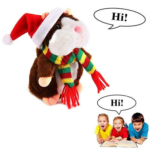 SEALEN El Hamster Parlante Repite lo Que Dices en un Traje de Navidad, un Juguete de Animal de Peluche, Un Ratn de Hmster Electrnico, Nios de Juguetes de Navidad (Navidad Deep Brown)