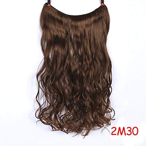 PINGS Invisible Wire No Clips in Fish Line Hair Extensions Blonde Straight Wavy Long Hair Resistant Resistant Hairpiece, YX02-2M30