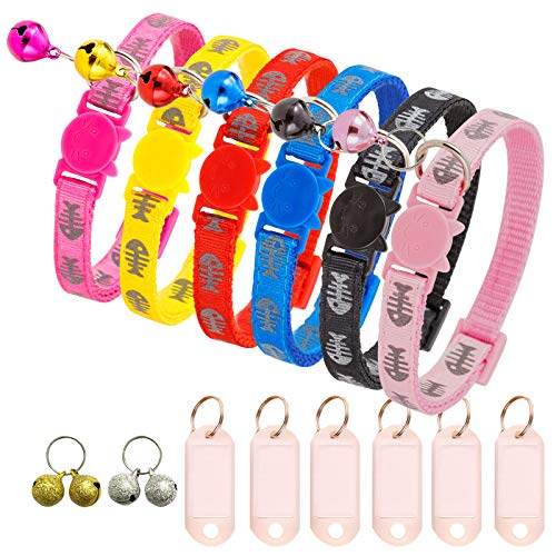 TCBOYING Breakaway Cat Collar with Bell & ID Tag, Reflective Cat Collars - Lattice Mixed Colors Ideal Size Pet Collars for Kitten Cats or Small Dogs(6pcs/Set)