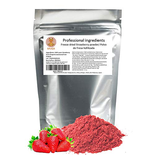 Freeze Dried Strawberry Powder - 200 g. Frozen Fruit. 100% Pure Strawberry: no Added sugars, preservatives, or additives. Dietary Fibre, Vitamin C and antioxidants.