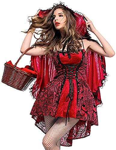 superchao Caperucita Roja para mujer, disfraz de Halloween, cosplay, vestido de fiesta, falda hasta la rodilla y capa extraíble con capucha