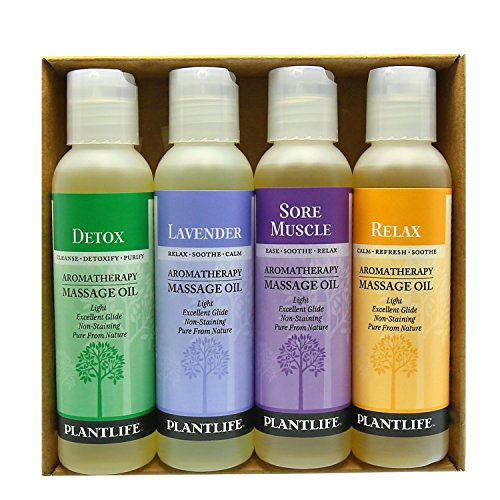 Plantlife Aromatherapy Massage Oil (Detox, Lavender, Relax, Sore Muscle) - 4 Pack