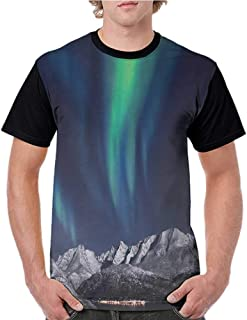 Women T Shirts Fashion,Sky,Aurora Borealis Aurora Over Fjords Mountain at Night Norway Solar Image Artwork,Green Dark Blue S-XXL Print Short Sleeve