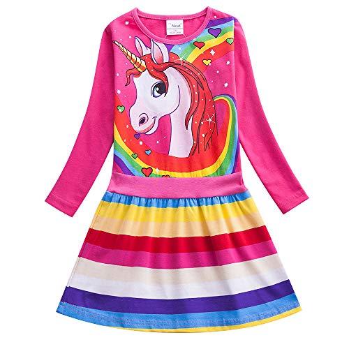 Wamvp Einhorn Kleid Mädchen Bunt Kurze Ärmel Langarm Baumwolle Freizeit Kleid
