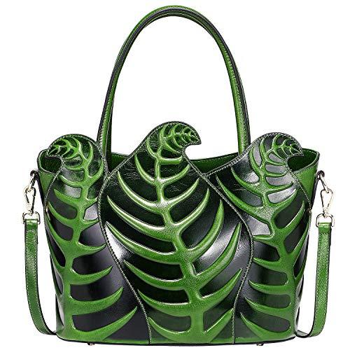 PIJUSHI Designer Shoulder Handbag Top Handle Satchel Bag Genuine Leather Leaf Purse (22353 green)