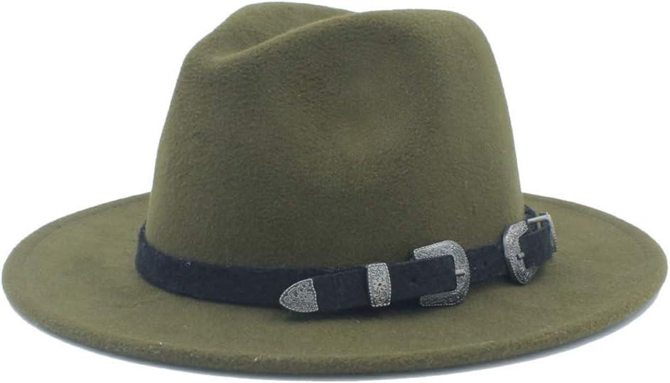 HXGAZXJQ Men Women Wool Fedora Hat Tea Party Hat Casual Wild Church Hat Pop Panama Hat Size 56-58CM (Color : Army Green, Size : 56-58)