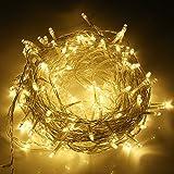 SYCEES Nastro Catena Luci 200 LED 23M Bianco Caldo da Interno 8 Effetti di Lampeggio/Funzione di Memoria/ IP44 / Luce Feste Natale Matrimonio Giardino Patio Mostra Vetrina (bianco caldo 200 led)