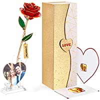 FORGIFTING プレゼント 女性 花 人気商品、 花びらに3個の人工ダイヤモンド付き、フォトフレームの機能持つローズスタンド1つ、ハート型グリーティングカード1枚を同梱 ——奥様、母親、彼女などへのギフトに最適、バレンタインデー、母の日、記念日、クリスマス、誕生日、結婚式などに適している——24Kゴールドメッキローズフラワー、本物の薔薇の花弁、樹脂で固め(プリザーブドフラワー、レッドバラ)