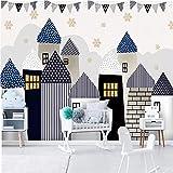 Papier peint Mural personnalisé pour chambre d'enfants Stickers muraux maison de bande dessinée château enfants chambre de bébé décoration de la maternelle peinture murale-140X100cm