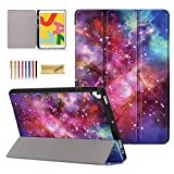 Dteck iPad 10.2 Case with Pencil Holder - Ultra Slim Lightweight Trifold Stand Premium Leather Smart Cover with Auto Wake/Sleep for Apple iPad 7th Generation 10.2' 2019 Release, Galaxy