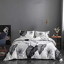 NFDF Juego de ropa de cama de estilo nórdico, color verde, blanco y gris, ropa de cama de 135 x 200 cm, moderna planta hojas de palma, estilo tropical, funda nórdica (gris 2,220 x 240 cm)