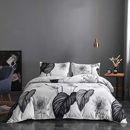 NFDF Juego de ropa de cama de estilo nórdico sencillo, verde, blanco y gris, ropa de cama de 135 x...