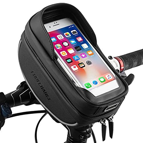 Bolsa de cuadro de bicicleta Impermeable Pantalla táctil Bolsa de viga delantera de bicicleta Bolsa de manillar de bicicleta Bolsa de soporte para teléfono inteligente de menos de 6.5 pulgadas