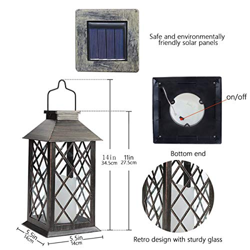 Solar Lantern, Outdoor Garden Hanging Lanterns,Set of 2,Waterproof LED Flickering Flameless Candle Mission Lights for Table,Outdoor,Party Decorative