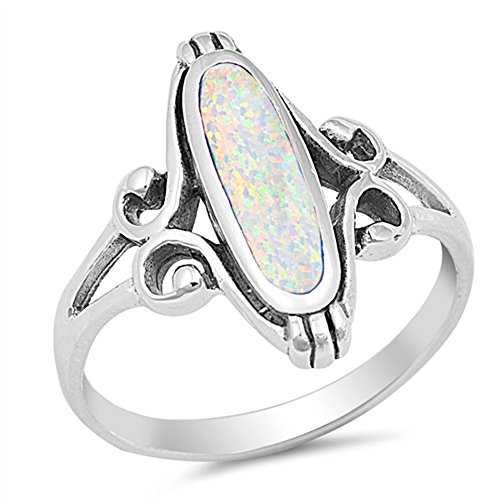 Long Wide Filigree Swirl White Simulated Opal Oval Ring .925 Sterling Silver Celtic Band Size 7