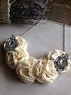 Ivory Floral Necklace with Crystal Accents