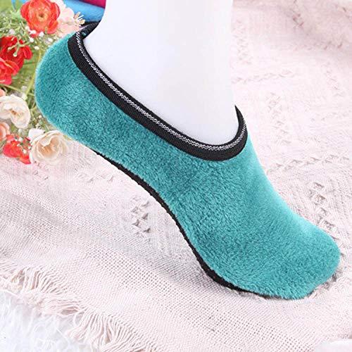Warme Socken,Slipper Socken,Winter Angenehm Weiches Velvet Indoor Stock Socken Kurz Anti-Skid Boot Socken Farbe Warm Frauen Hausschuhe Socken Grün(3pcs)