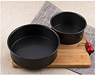 """CheeseandU Set of 2 Round Cake Pans Carbon Steel 6"""" 8"""" Nonstick Surface Oven Baking Cake Pizza Tray DIY Bakeware for Creat..."""