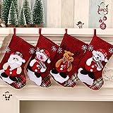 Medias de Navidad,4 Piezas Calcetín de Navidad Bolsa,Calcetines de Navidad para Colgar,Calcetines para Colgar Renos,Moda,23cm*16cm,para Árboles de Navidad,Camas(Anciano/Muñeco de Nieve/Ciervo/Oso)