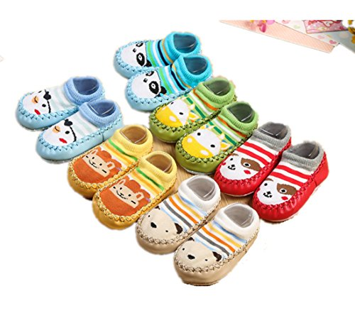 Lee's Relief Bazaar Bébé Anti-dérapant Sock, Chaussures Toddler Enfants intérieur Cartoon Chaussures Pantoufle Chaussettes - 3 Double / 6 Double (6 Double, 2XL Longueur Interne 13,5-14,5CM)