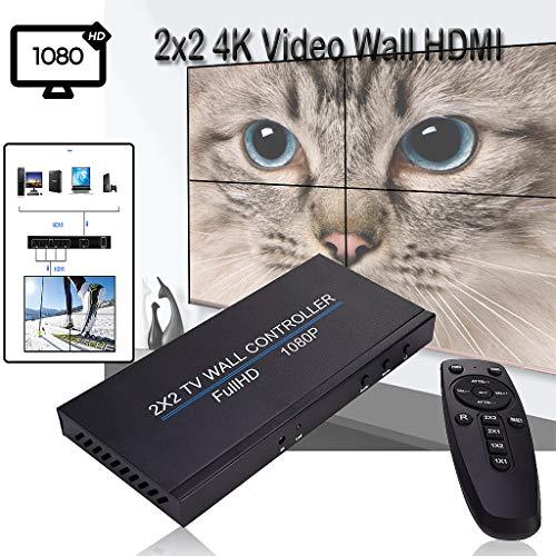 Lukame 2X2 4K-Videowandprozessor Hdmi-Netzwerk Ip Poe Hdtv 1080P-Controller-Spleißen(Schwarz)
