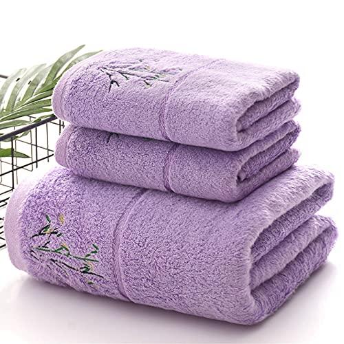Juego de toallas de algodón egipcio de 3 piezas 75* 35 y 140* 70 cm de bambú de fibra de baño, toalla de bordado, toalla de playa general, juego de toallas suaves