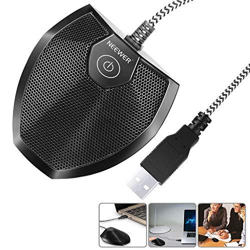 Neewer Micrófono Ordenardor Escritorio USB Sin Controlador-Botón Táctil Silencio con Indicador LED,Micrófono Conferencia Límite Omnidireccional para Grabación Juego Skype(Windows/Mac)