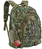 Nexpak BP029MLT Multi Camo Camouflage 19.5 Inch Organizer Laptop Backpack School Book Bag with Key Ring Carabiner