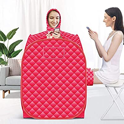 Kacsoo Portable Steam Pot at Home Sauna, Upgrade 2.6L Steamer with Folding Chair, 808098cm Increase Steamer, Lightweight Tent, One Person Full Body Spa for Weight Loss Detox Therapy (Red)