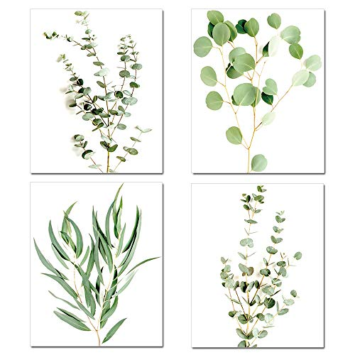 Plant Wall Art Prints,Minimalist Pictures Wall Art Photo Prints for Living Room Bedroom Kitchen Set of 4 Green Botanical Poster Photos Print Unframed (8x10)