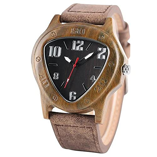 GIPOTIL YISUYA Mens Watches Creative Inverted Geometric Triangle Shaped Big Numbers Dial Wood Clock Male  Leather Reloj de Madera,Walnut Wood