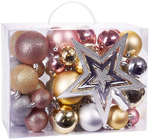 BRUBAKER 50-Piece Set Christmas Balls with Tree Top - Baubles - Christmas Tree Decorations in Pink, Champagne and Silver