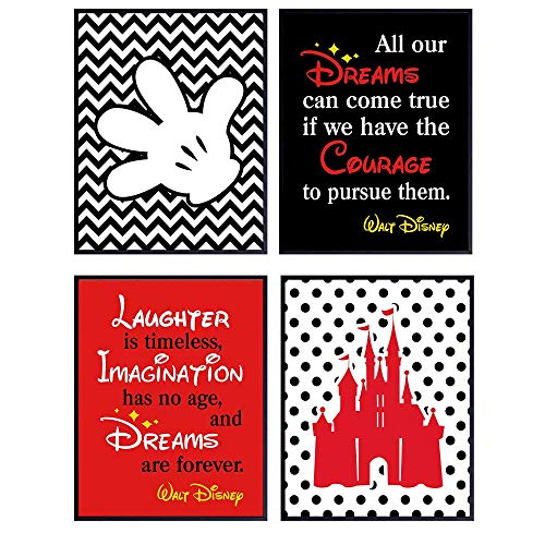Disney Mickey Mouse Wall Decor Set - 8x10 Decorations - Inspirational Art Quotes Posters for Bedroom, Living Room, Home, Office - Gift for Women, Disney World Fans - UNFRAMED