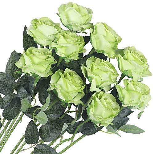 Veryhome 10 Stücke Künstliche Rosen Silk Blumen Gefälschte Flowers Braut Hochzeit Bouquet Für Hausgarten Geburtstag Party Home Wedding Dekor (Grün - Blühende Rosen)