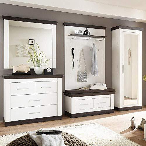 Lomadox Modernes Landhaus Flur-Garderoben Set in Pine weiß & Wenge Nb.