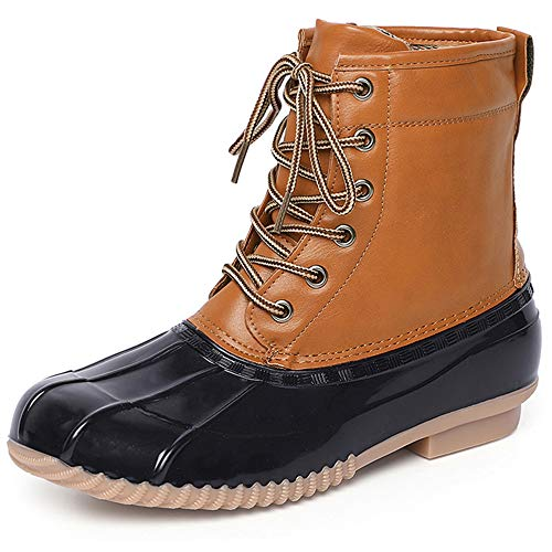 Chenghe Women's Winter Duck Boots Waterproof Lace Up Two Tone Rain Duck Boots Black US 6