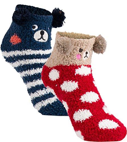gigando | Cozy animal Christmas Socks for Kids | lustige, Kuschelsocken für Jungen und Mädchen | hochwertige Socken für Kinder mit lustigen Gesichtern | 2 Paar | Bär rot & Bär blau | 31-34 |