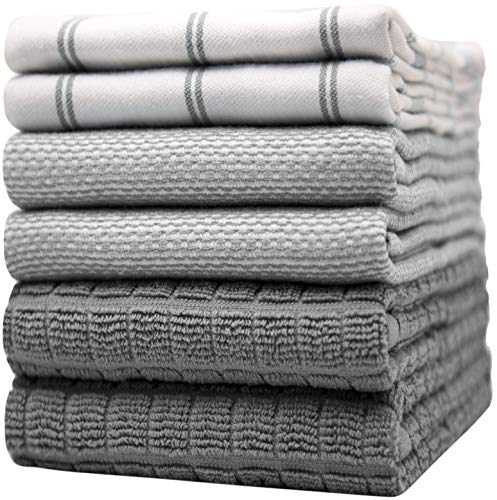 Bumble Küchenhandtücher - Geschirrhandtücher Handtücher Baumwolle – 6er Pack – XL Größe 50 x 70 cm – Edle, Weiche und Robuste Ringspinnbaumwolle in 3 Verschiedenen Texturen (Grau)