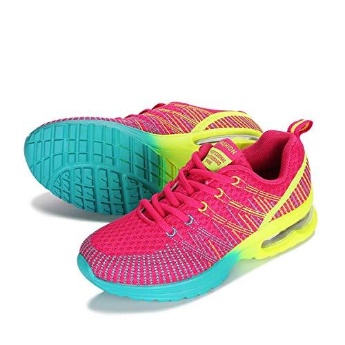 CrazycatZ Mesh Bunte Sneaker, Damen Sneaker Straßenlaufschuhe Leichte Turnschuhe Bequem Laufschuhe Sportschuhe (Hot Pink, Numeric_38)