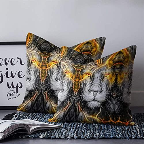 Lion - Fundas de almohada de lona, suaves y acogedoras, cuadradas, para coche, sofá, cama, salón, decoración al aire libre, 45,7 x 45,7 cm, diseño de león solemne rey de las bestias, color gris dorado