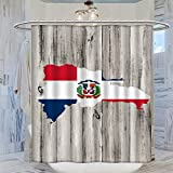 DRAGON VINES Cortina de ducha con diseño de mapa de la República Dominicana, 183 x 183 cm, impermeable, antimoho, con 12 ganchos de plástico, lavable