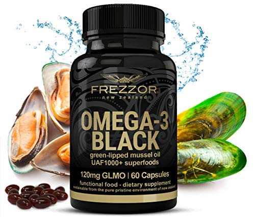 FREZZOR Omega-3 Black-450mg Green Lipped Mussel Oil New Zealand UAF1000+, 1 Pack, 60 Count
