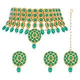 Aheli Stylish Bollywood Diva Deepika Padukone Style Choker Necklace with Maang Tikka Set Indian Traditional Wedding Fashion Jewelry for Women