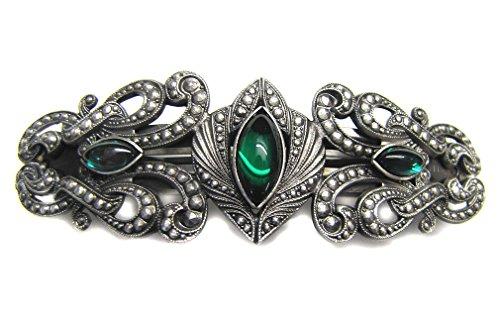 Toms-Silver Haarspange Gothic Beauty antik silberfarben mit grünen Glassteinen Spangenlänge 7cm