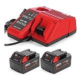 URUN 2 batterie agli ioni di litio da 18 V 5,0 Ah con caricatore M12-18C 3 A, sostitutivo per Milwaukee Compatibile con gli utensili elettrici a 18 V di Milwaukee: 2646-22CT, 2643-21CT