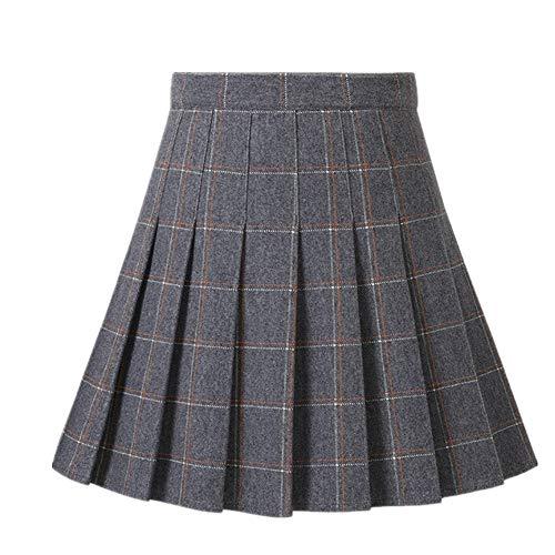 Falda corta para mujer, cintura alta gris L