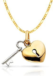 14K Two Tone Gold Key to Heart Keyhole Charm Pendant with 2mm Figaro 3+1 Chain Necklace