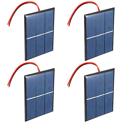 GTIWUNG 4 Stück 1.5V 0.65W 60X80mm Mikro-Mini-Solar-Panel-Zellen Sonnenkollektor für Sonnenenergie, Heimwerken, DIY, Wissenschaft Projekte - Spielzeug - Akku-Ladegerät
