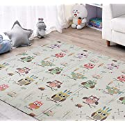 JPCO Baby Play mat, Crawling Kids Playmat Folding Portable Indoor Outdoor Non Toxic Waterproof for Babies, Infants, Toddlers- owl Bird